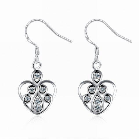 Outfit Hollow Out Zircon Heart Shape Drop Earrings Charm Jewelry