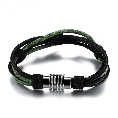 Online Men's Multicolor Leather Braided Bracelet Stainless Steel Magnetic Clasp Bangle