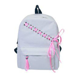 Women's Backpack Preppy Style Simple Bow Decor Sweet Back Bag -