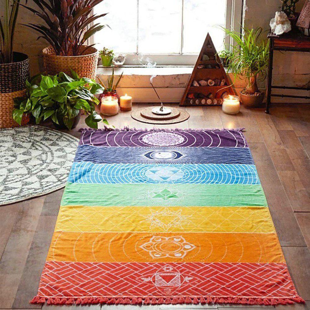 Serviettes de yoga simples avec glands Rainbow Chakra Tapestry Stripes Mats