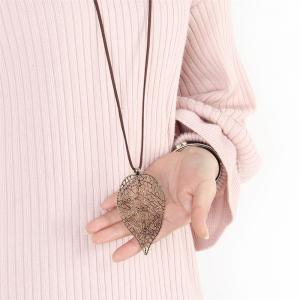 Fashion Ornaments Hollowed Out Metal Sweater Chain Necklace -
