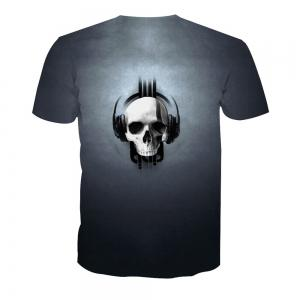 Skeleton Print Short-Sleeved T-Shirt -