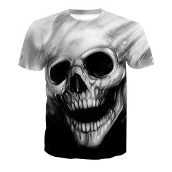 Skull Print Short-Sleeved T-Shirt -