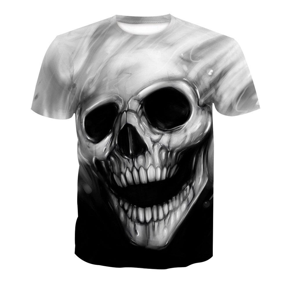 Cheap Skull Print Short-Sleeved T-Shirt
