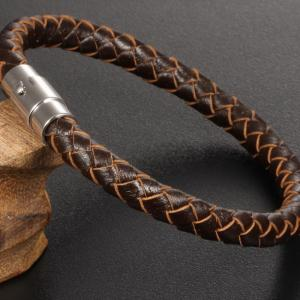 Men's Fashion Leather Braided Bracelet Stainless Steel Magnetic Clasp Bangle Wristband -