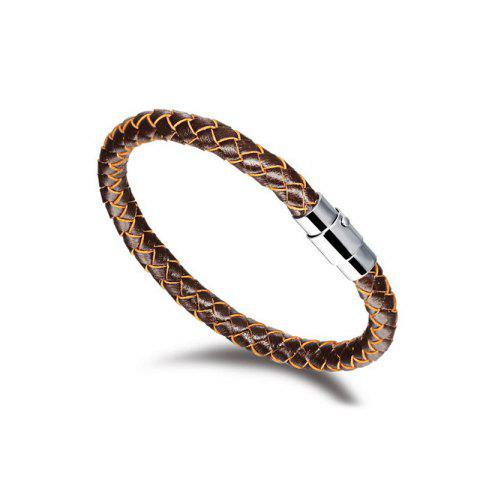 Chic Men's Fashion Leather Braided Bracelet Stainless Steel Magnetic Clasp Bangle Wristband