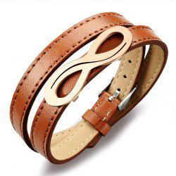 Men Leather and Stainless Steel Magnetic-Clasp Bracelet -