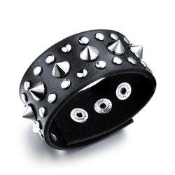 Unisex Black Metal Spike Studded Punk Rock Biker Wide Strap Leather Bracelet -