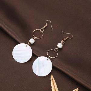 Round Shell Drop Earrings -