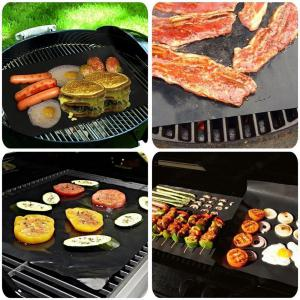 3 Pcs BBQ Grill Mats Non Stick Pad Grilling Mat Reusable Heat Resistant Easy to Clean -