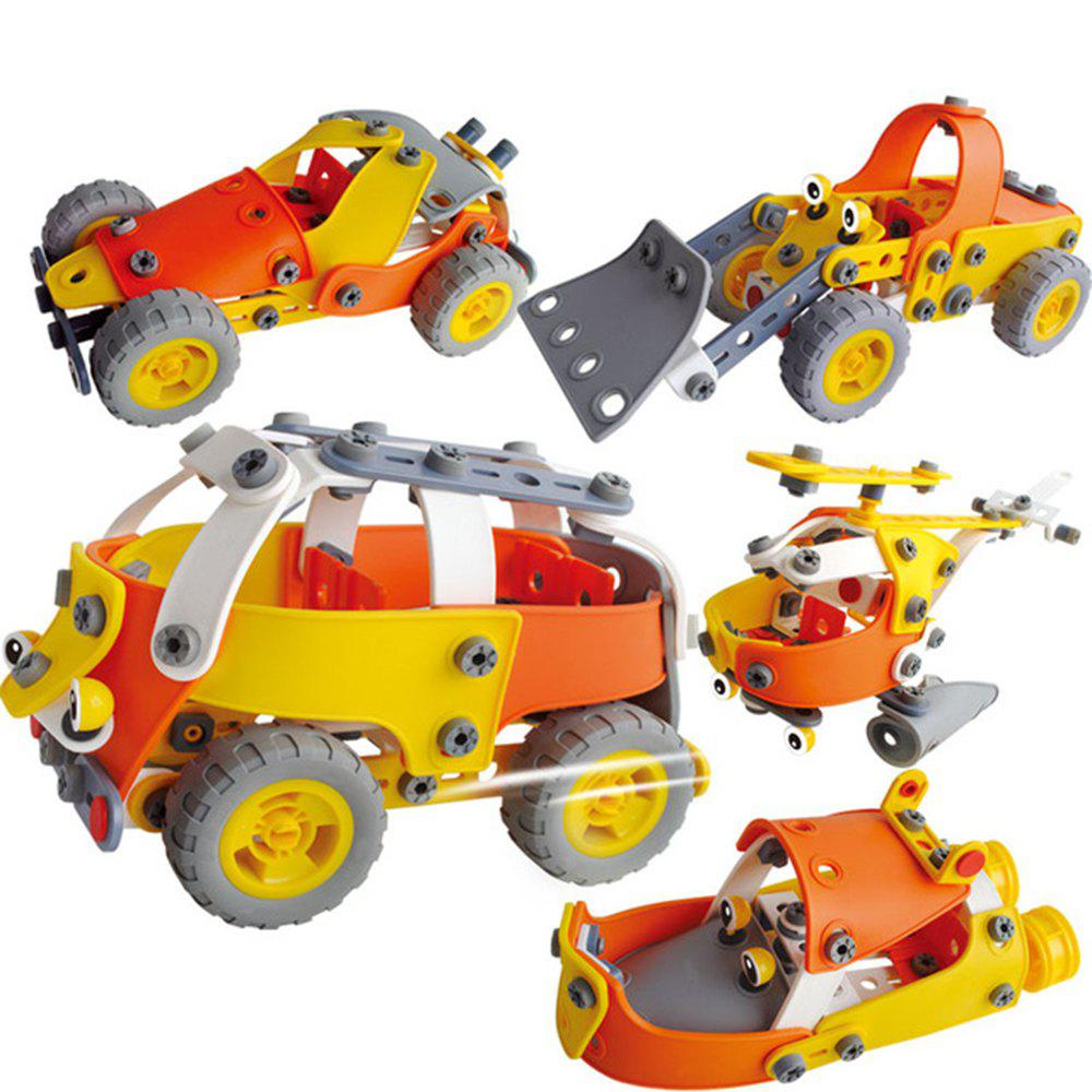 Shops DIY 5 in 1 Education 3D Building Blcoks Puzzle Kids Raider Buggies Bulldozer Steamboat Bus Helicopter Learning Toy 148PC