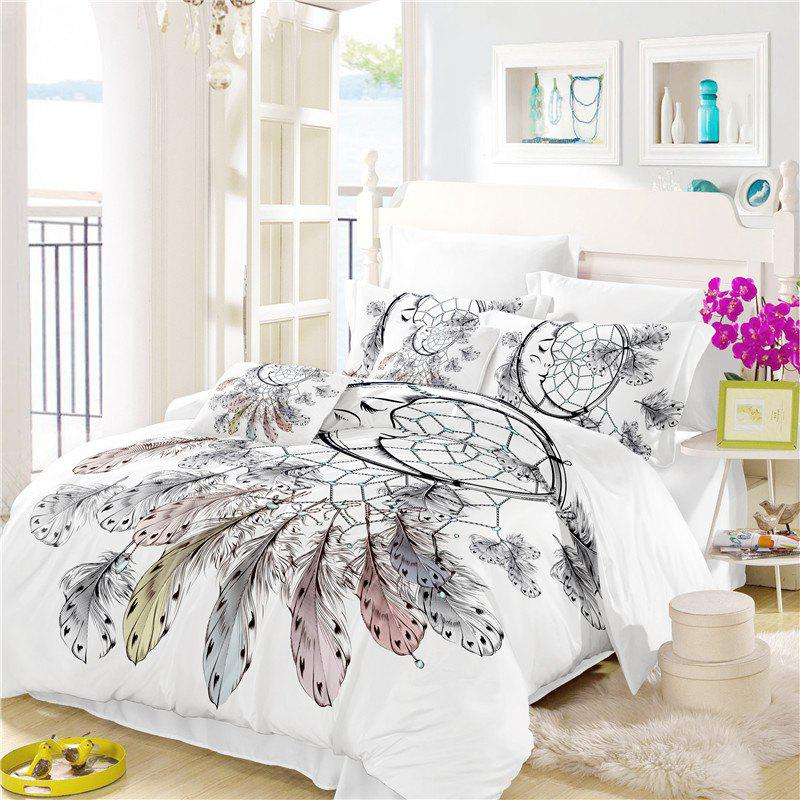 Trendy Bohemia 3D Series Necklace Three Piece Feather Bedding Set of Four AS34