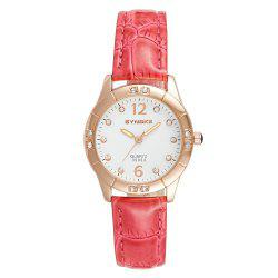 SYNOKE Fashionable PU Watchband Waterproof Female Quartz Watch -