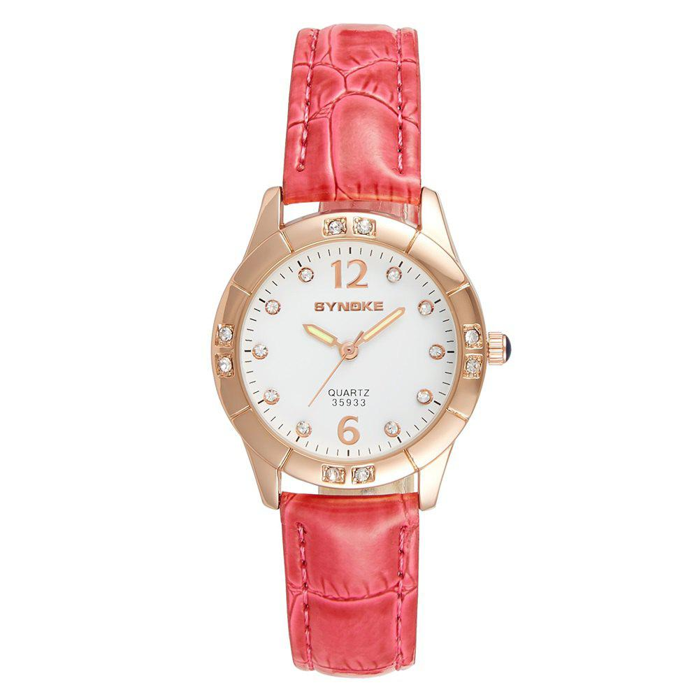 Best SYNOKE Fashionable PU Watchband Waterproof Female Quartz Watch