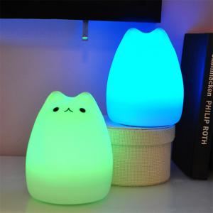 Cat Pattern Silica Gel Lamp Sleeping Animal Night Light Colorful Bed Lights -