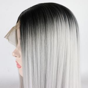 Silver Long Straight Ombre Color Black Root Heat Resistant Synthetic Hair Lace Front Wigs for Women -
