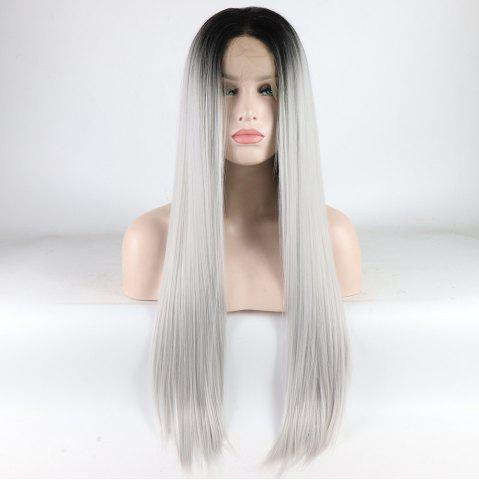 Discount Silver Long Straight Ombre Color Black Root Heat Resistant Synthetic Hair Lace Front Wigs for Women
