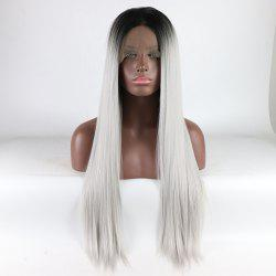 Black Root Ombre Color Long Silver Straight Heat Resistant Synthetic Hair Lace Front Wigs for Women -