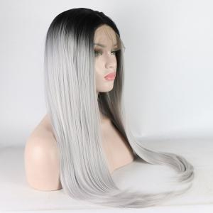 Long Straight Silver Black Root Heat Resistant Synthetic Hair Lace Front Wigs for Women -