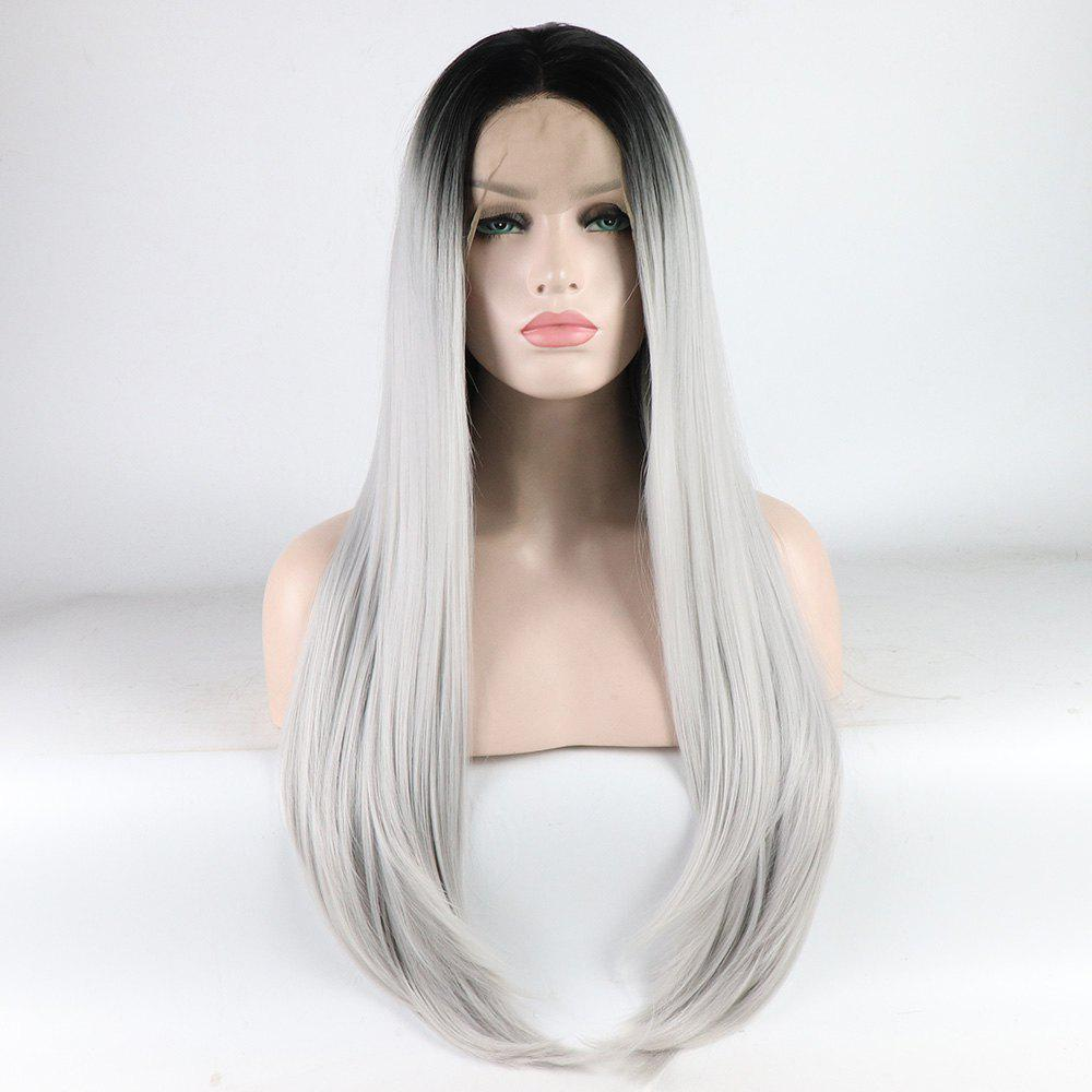 Online Long Straight Silver Black Root Heat Resistant Synthetic Hair Lace Front Wigs for Women