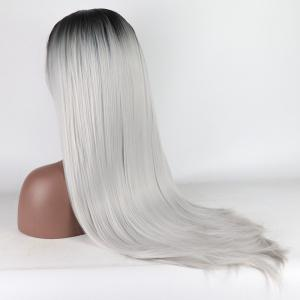Ombre Black Root Silver Color Long Straight Heat Resistant Synthetic Hair Lace Front Wigs for Women -