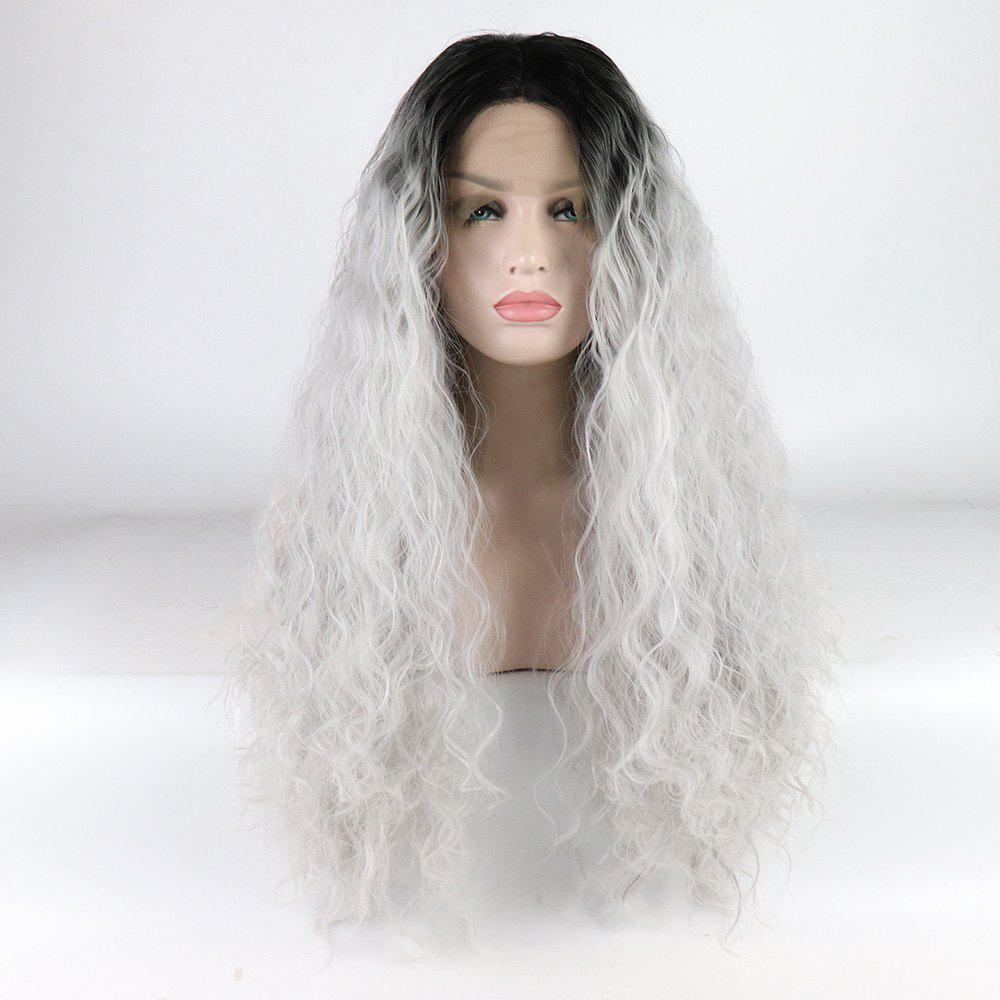 Outfit Silver Color Ombre Black Root Long Curly Heat Resistant Synthetic Hair Lace Front Wigs for Women
