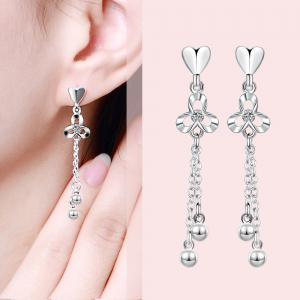 Fashion Clover Tassel Long Drop Earrings Charm Jewelry -