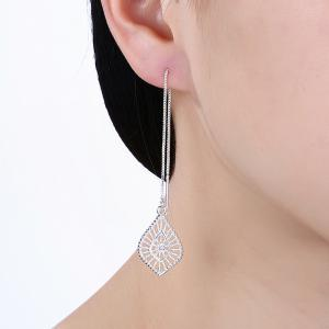Fashion Hollow Out Leaf Shape Long Drop Earrings Charm Jewelry -