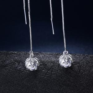 Hollow Out Ball Shape Long Drop Earrings Charm Jewelry -