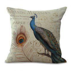 A1090-2 Vintage Peacock Printed Cotton Sofa Soft  Pillow  Bedroom Car Seat Cushion Cover 45x45cm -