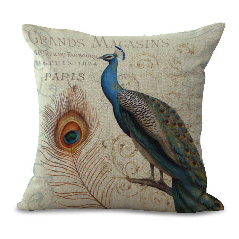 Latest A1090-2 Vintage Peacock Printed Cotton Sofa Soft  Pillow  Bedroom Car Seat Cushion Cover 45x45cm