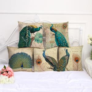 A1090-3 Vintage Peacock Printed Cotton Sofa Soft  Pillow  Bedroom Car Seat Cushion Cover 45x45cm -