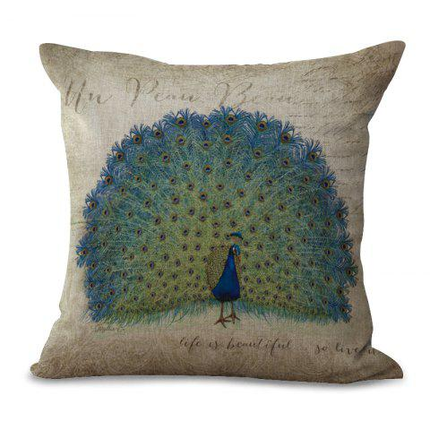 Chic A1090-3 Vintage Peacock Printed Cotton Sofa Soft  Pillow  Bedroom Car Seat Cushion Cover 45x45cm