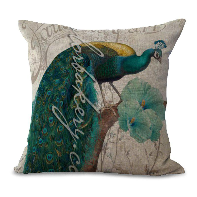 Buy A1090-5 Vintage Peacock Printed Cotton Sofa Soft  Pillow  Bedroom Car Seat Cushion Cover 45x45cm