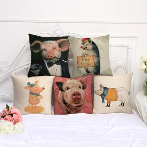 A1091-6 Cute Pig Print Sofa Cushion Cover Bedroom Living Room Pillowcase Waist Pillow Covers 45x45cm -