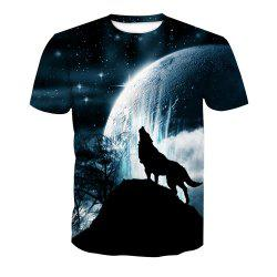 Short Sleeve Wolf Print T-Shirt -