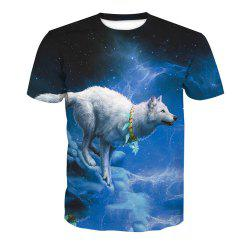 Short Sleeve Printing Wolf T-Shirt -