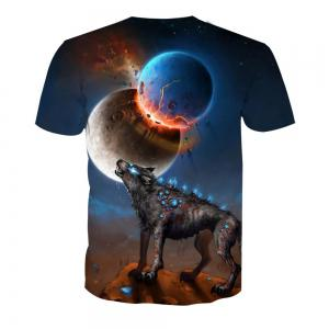 Printed Short Sleeve Wolf T-Shirt -