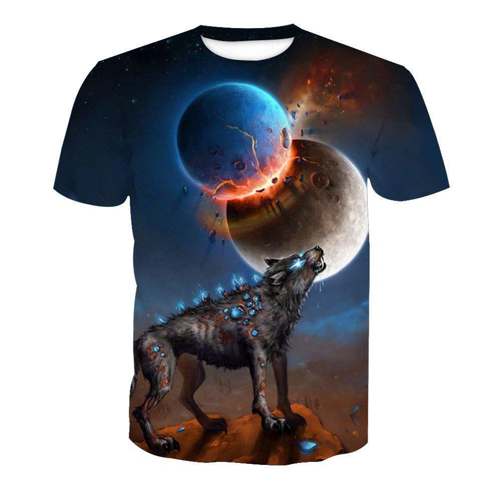 Sale Printed Short Sleeve Wolf T-Shirt