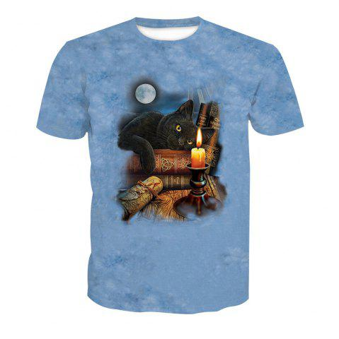 Buy Digital Cat Print Short-Sleeved T-Shirt