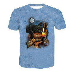 Digital Cat Print Short-Sleeved T-Shirt -