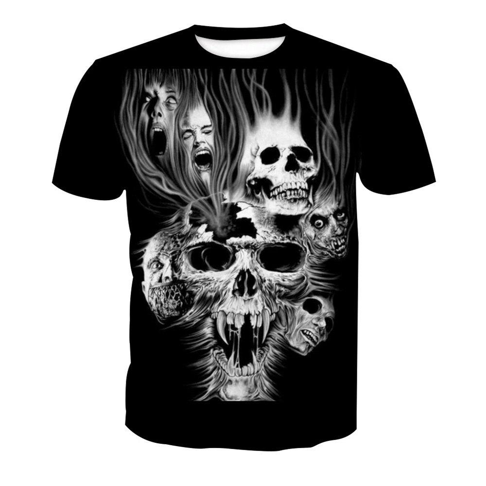 Unique Digital Skull Printed Short-Sleeved T-Shirt