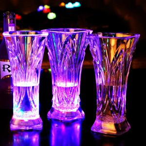 Luminescent Glass Water Sensing Multicoloured Flash Square Juice Cup -