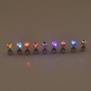 Fashion Trend  2PCS New Square Diamond Earrings  LED With A Sweet  Ear Drill -
