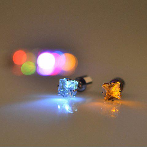 Best Fashion Trend  2PCS New Square Diamond Earrings  LED With A Sweet  Ear Drill