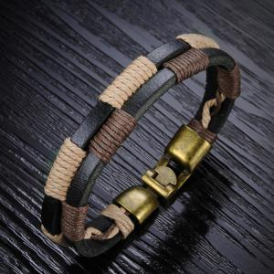 Men's Cuff Leather Braided Bracelet Bronze Bangle -
