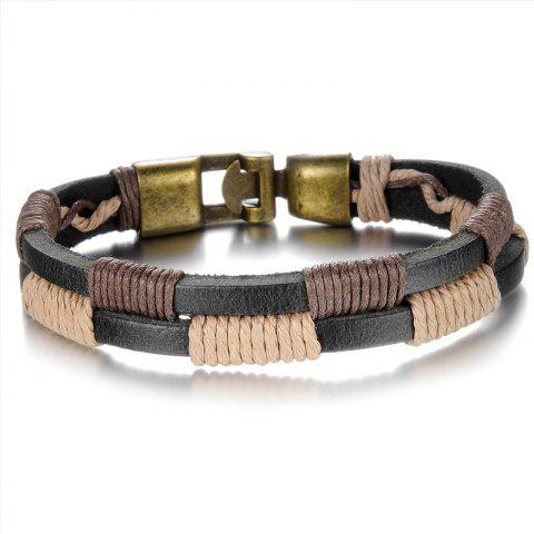 Unique Men's Cuff Leather Braided Bracelet Bronze Bangle