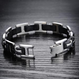 Men's Silicone Bracelet Fashion  Stainless Steel Magnetic Clasp Bangle -