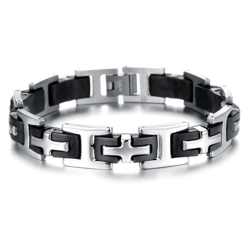 Latest Men's Silicone Bracelet Fashion  Stainless Steel Magnetic Clasp Bangle