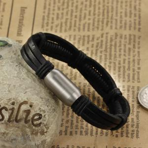 Korean Fashion Men's Leather Braided Cuff Bracelet Stainless Steel Magnetic Clasp Bangle -